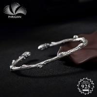 NOT FAKE S990 Fine Jewelry 100% Sterling Silver Bangle branch lily Ethnic Jewelry Handmade Nature flea market Luxury Elegant S925 925