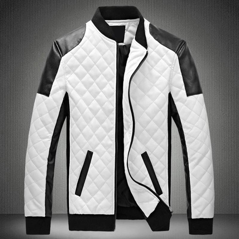 2019 Winter Men's Collar Lingge PU Leather Jacket Black And White Color Matching Large Size Motorcycle Leather