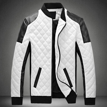 2019 Winter Men's Collar Lingge PU Leather Jacket Black And White Color Matching