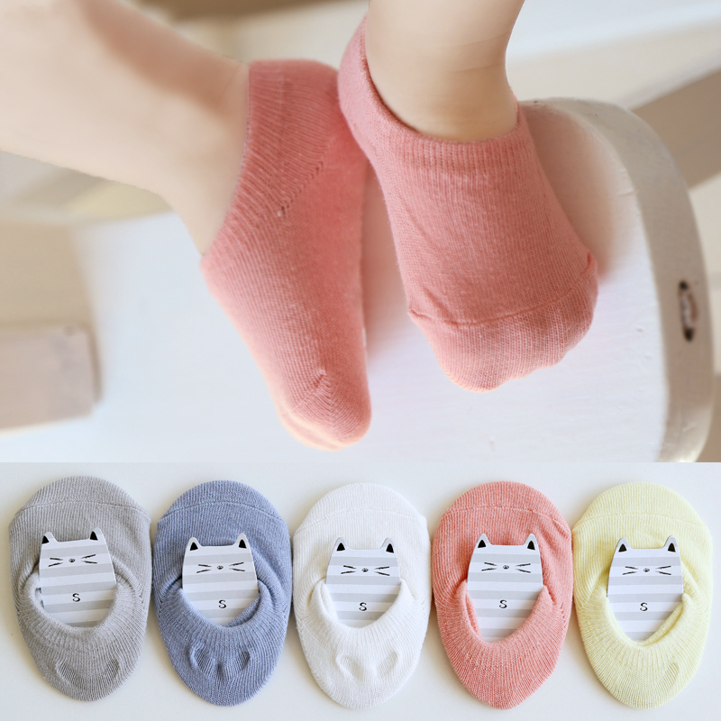 5Pairs/Lot Children's Invisible Boat Socks Baby Non Slip Socks Cotton Sock For Girl  Boy 1