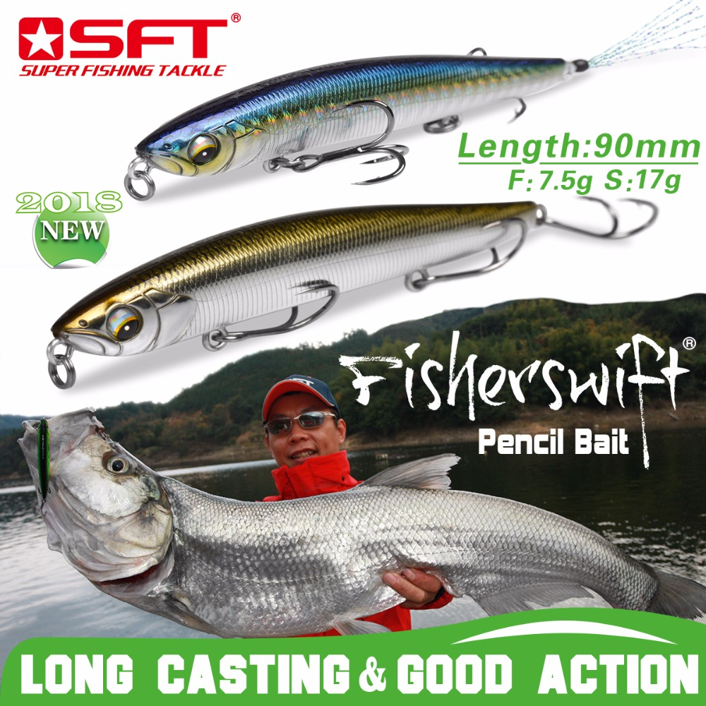SFT Fishing Lures 90mm 7.5g 17g Hard Pencil Lures Floating / Sinking Artificial Sea Bass Fish Bait