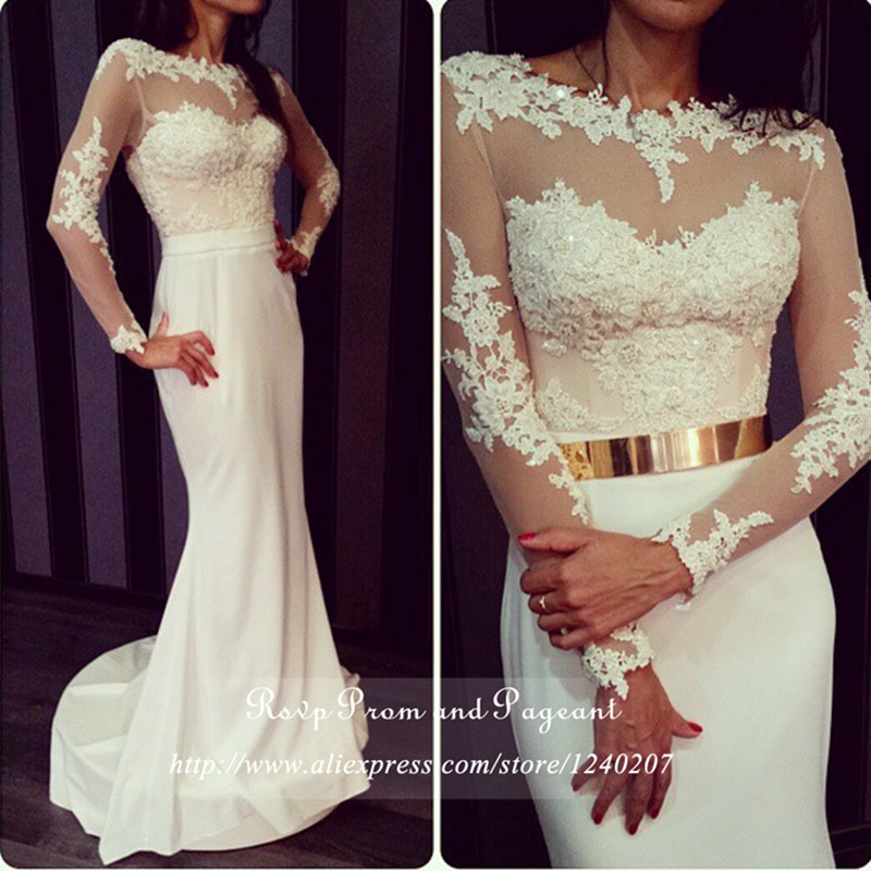 Popular White Lace Long Sleeve Prom Dress with Long Train-Buy ...