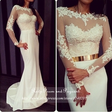 Long White Mermaid Prom Dress Scoop Neck Sheer Lace Beaded Appliques Floor Length Long Sleeve Prom Dresses 2017 With Gold Sash