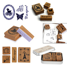 Brand New Romantic Design 6 Style  Lovely Diary Pattern Wooden Rubber Stamp Box Set  Retro DIY Happy Time Style Diary