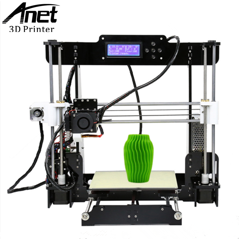 ANET High quality A8 3D printer Prusa i3 precision with 2 Rolls Kit DIY Easy Assemble Filament 8GB SD card 5 Keys LCD screen 2017 new anet easy assemble 3d printer upgrated reprap prusa i3 3d printer large print size kit diy with filament 16gb sd card