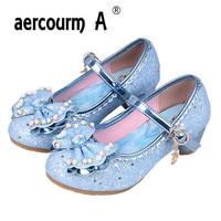 Aercourm A 2017 Girls High Heels Shoes Elsa Anna Princess Children Shiny Dancing Shoes Girls Lovely