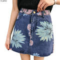 Summer Print Flower A-Line Denim Skirts High Waist Package Hip Short Saia Jeans 2colors Vintage Mini Saias Female Casual Jupe