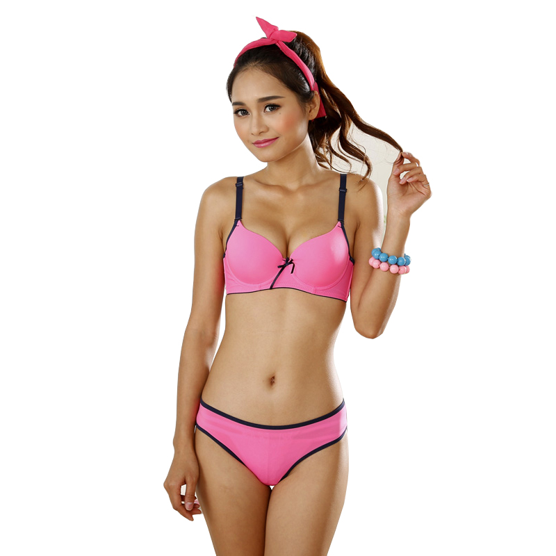 MIGNMO 2018 New Japanese Sexy Small Girls Cute Bra Set Intimates Solid Candy Color Glossy Women Underwear Lingerie Bra And Panty
