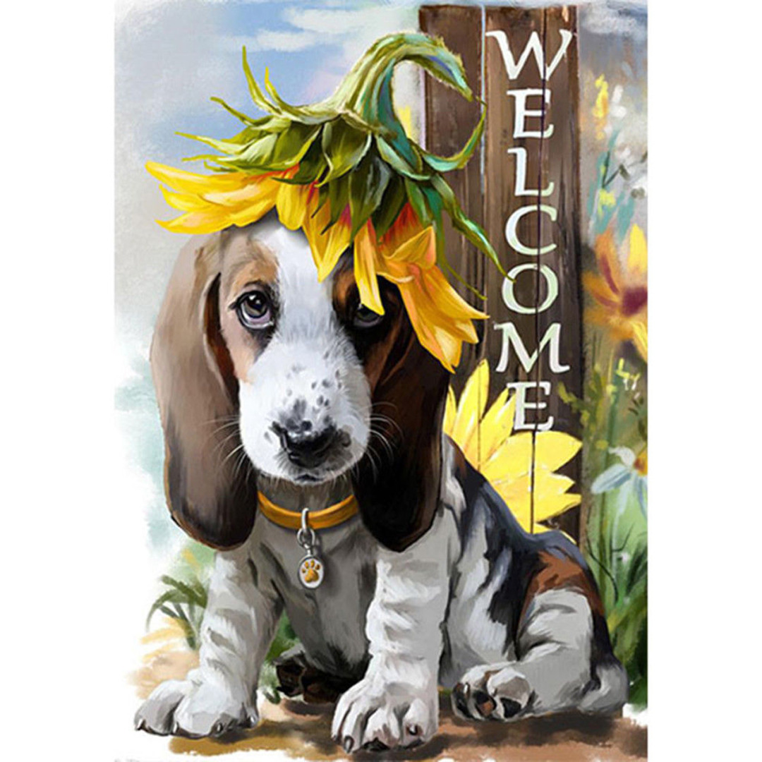 Mayitr Garden Flag Welcome Cute Dog And Sunflower Double Sided Yard Indoor Outdoor Home Decoration