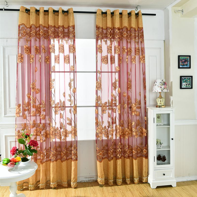 NEW Flower Tulle Door Decor Window Curtain Drape Panel Sheer Scarf Valances  Half Shading For Kitchen