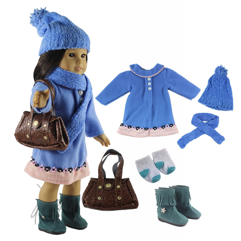 Hot 6in1 Set Doll Clothes Blue Coat Hat Scarf Shoes Socks Bag For 18 American Girl Doll Handmade Clothes Outfit