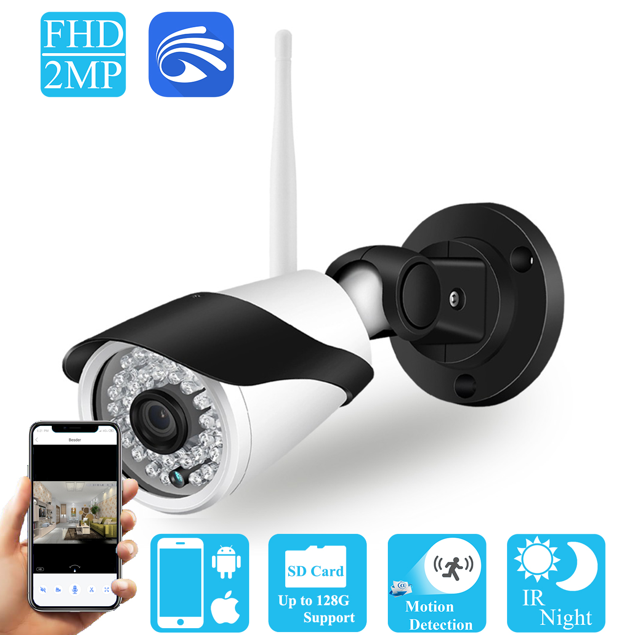 BESDER Yoosee WiFi Wireless IP Camera 1080P HD Street Waterproof Security CCTV Camera SD Card Slot