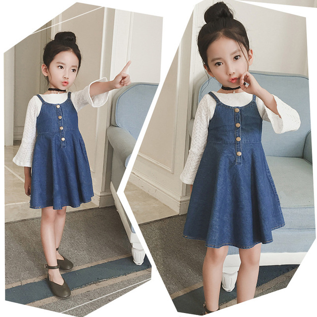 d26588b1d5dd 2018 Summer Early Autumn Baby Girls Jeans Dress Kids Denim Sundress ...