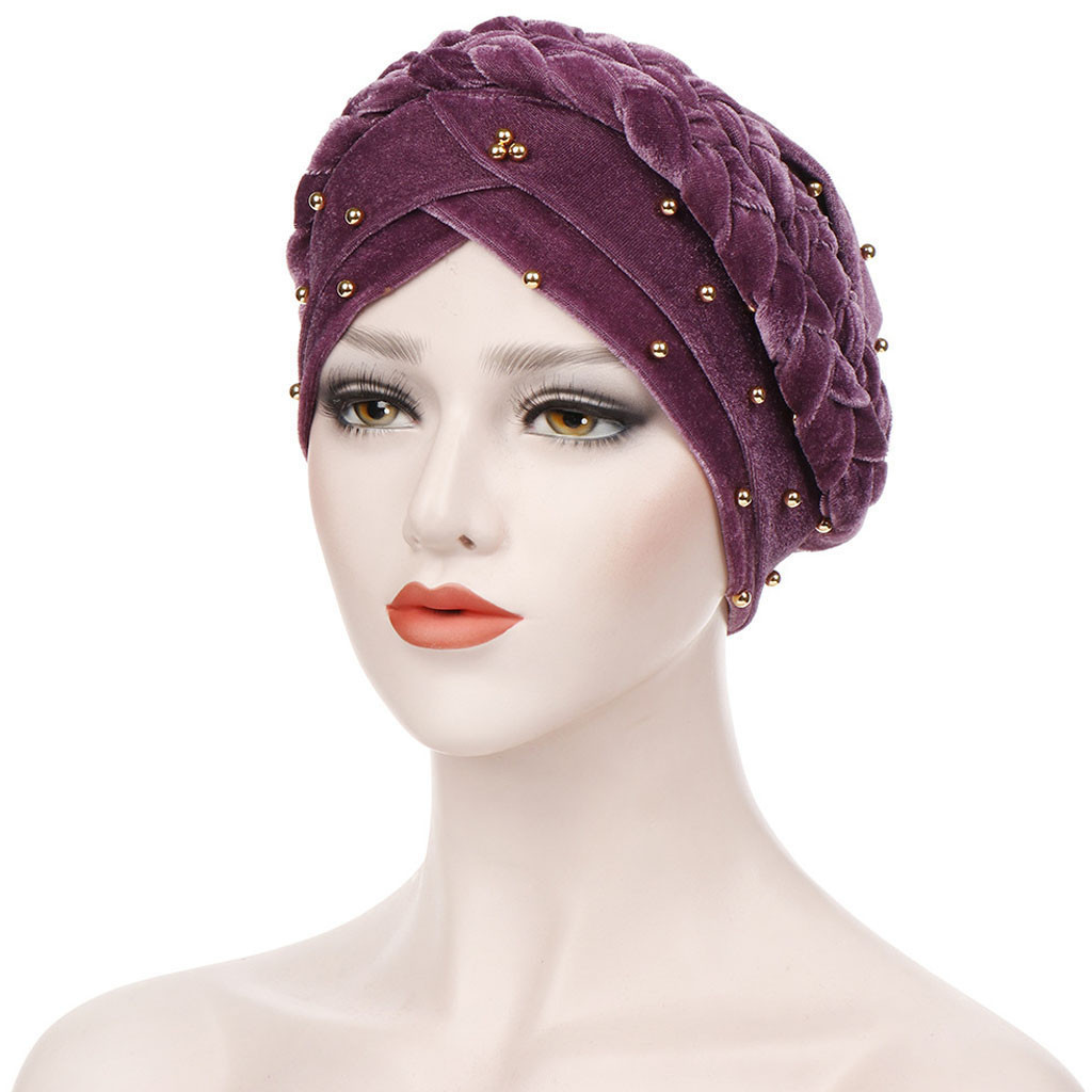 d01c23b5c Cheap Nuevo sombrero turbante de mujer musulmán Hijab mujeres cuentas India  sombrero musulmán cáncer quimio gorro