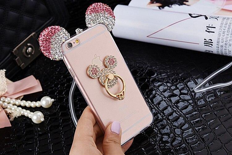 Cute Rhinestone Minnie Mickey Ears Cases For iPhone X XR XS Max 8 7 plus 6 6S Plus 5 5S SE Case