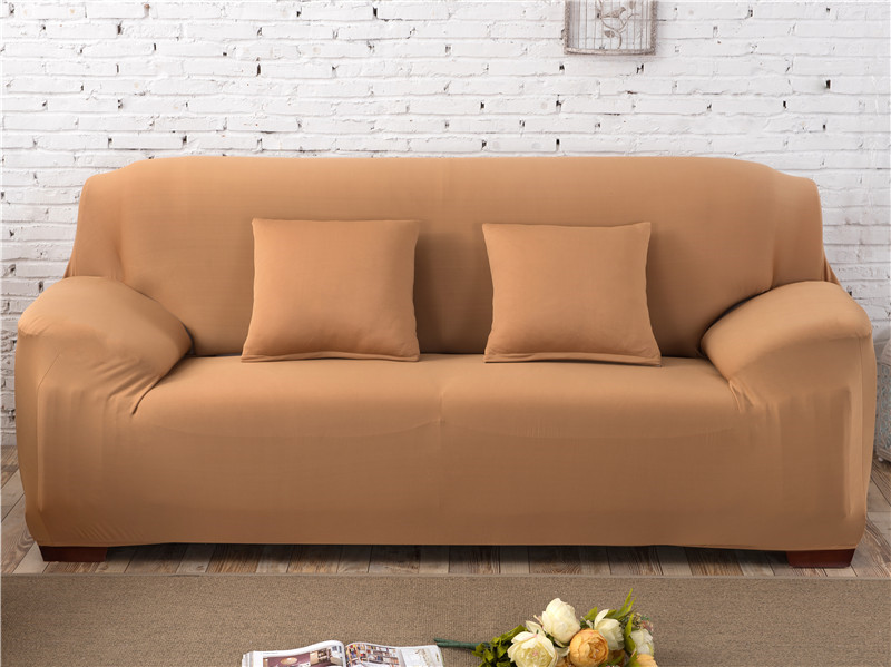 Solid Color Elastic Couch Cover made of Stretchable Material for Singe to 4 Seated Sofa in Living Room 33