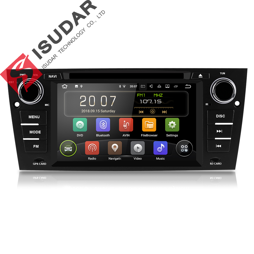 Isudar Car Multimedia Player GPS Android 8.1.1 1 Din DVD Automotivo Per BMW/3 Serie E90/E91/ e92/E93 2 GB di RAM Radio FM Wifi DSP