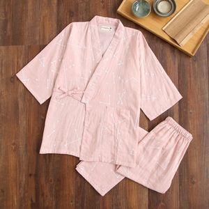 Image 3 - Gạc Cotton Nhật Bản Đồ Ngủ Cổ Chữ V Kimono Pijama Nam Nữ Pijamas Cặp Đôi Xuân Hè Phòng Chờ may Áo Quần Dài Bộ