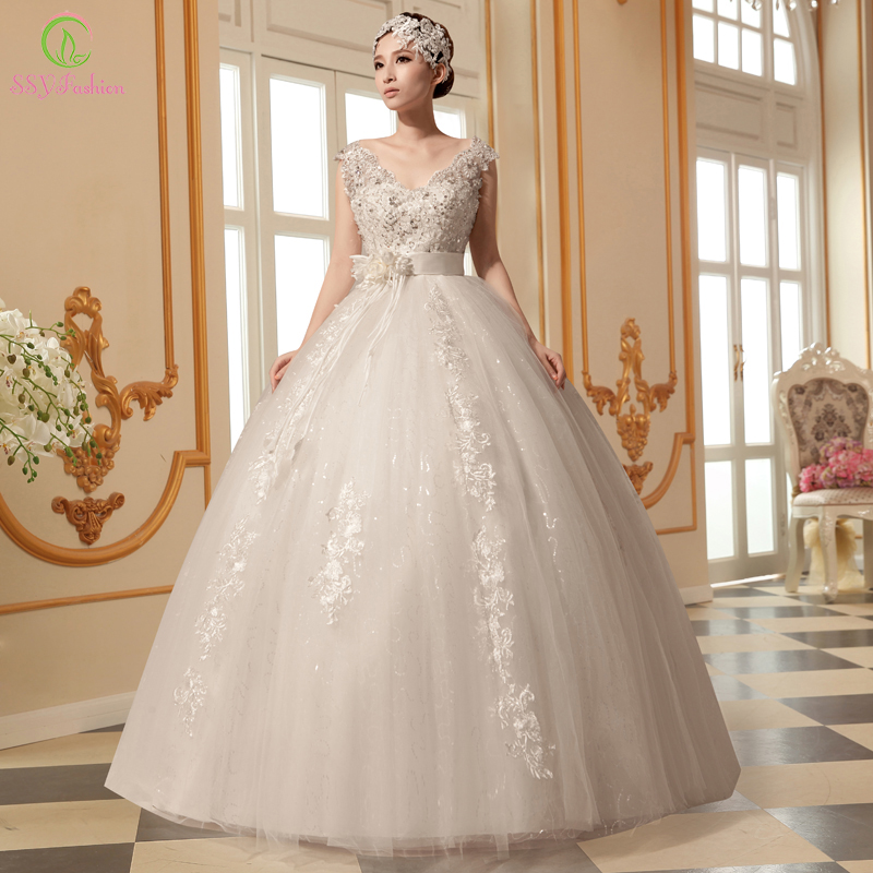 SSYFashion wedding Dress Plus Size Maternity High Waist Vintage Lace ...