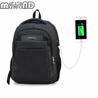 2017 MIWIND Large Capacity Casual Laptop Backpack External USB Charge Computer Backpacks Waterproof Nylon Bags For