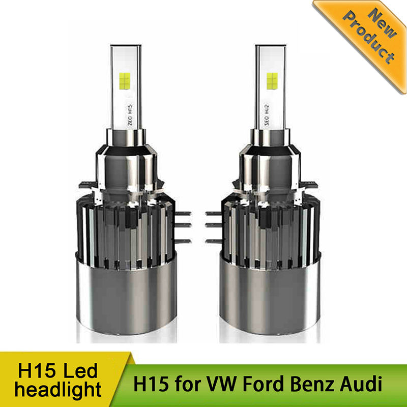 H15 LED Headlight Easy Install Canbus No Error Free High Beam Daytime Running Light DRL Head Lamp for Audi Mercedes VW Golf GLA wljh 2x canbus no error led p21w 1156 ba15s drl driving daytime running fog lamp light for vw sagitar jetta mk6 2011 2012 2013