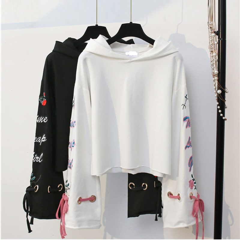 Lace up Bandage Long Sleeve Black Sweatshirt Harajuku Vintage Sexy Casual Floral Embroidery Hooded Hoodies Crop Leisure Pullover casual fall style black long sleeve lace up sweatshirt