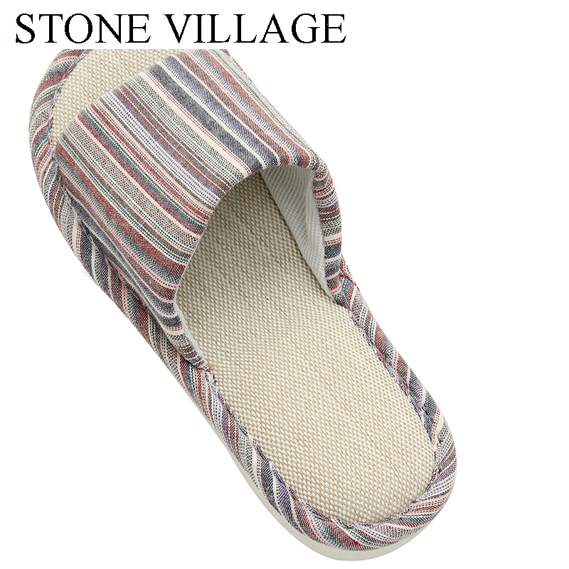 STONE VILLAGE large size 36-45 Summer Striped Mute Flax Women Slippers shoes  Indoor Floor Home Slippers Shoes Drop Shipping 2