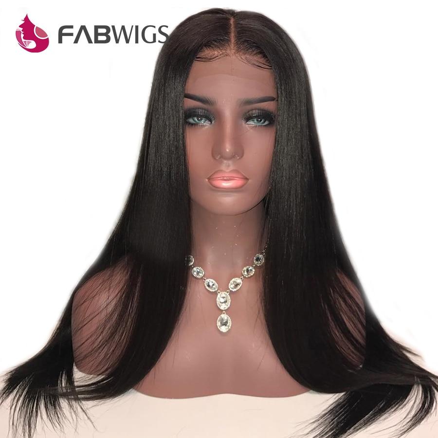 Fabwigs 13x6 Синтетические волосы на кружеве парик предварительно сорвал Реми шелковистые прямые натуральные волосы парики глубокая часть Синт...