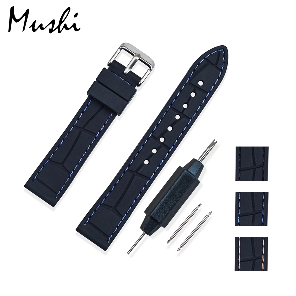 MS Silicone Watchband Black Diver Watch Band Rubber Watch Strap with Brushed Stainless Steel Buckle Clasp 20mm 22mm Watch Strap black 20mm band width rubber wrist watch band strap stainless steel pin buckle 2 spring bars