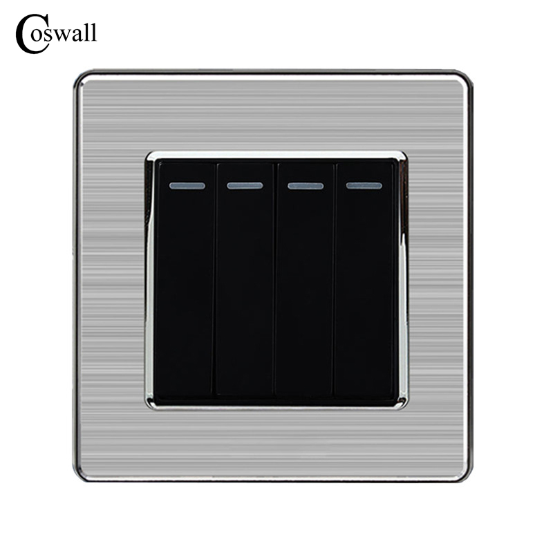 Coswall 4 Gang 1 Way Luxury Light Switch Push Button Wall Switch Interruptor Stainless Steel Panel AC 110~250V