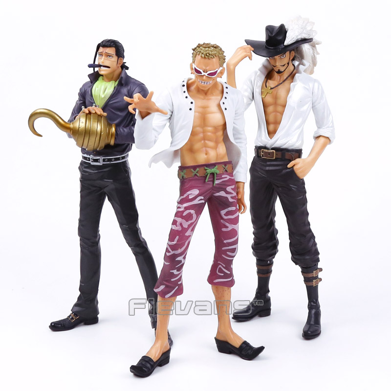 Anime One Piece Sir Crocodile / Dracule Mihawk / Donquixote Doflamingo PVC Figure Collectible Model Toy 25cm anime one piece dracula mihawk model garage kit pvc action figure classic collection toy doll