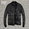Черный натуральной кожи куртка пальто мужчины 100% козьей мотоцикл куртка реального овчины кожа весте cuir homme cappotto LT1023