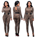 Womens Sexy Print Long Sleeve O-Neck High Waist Bodycon Jumpsuit Ladies Clubwear Long Pants Body Suits With Belt