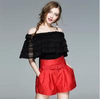 New Summer White Black off shoulder sleeveless Blouse Women Shirt High Quality Clothing Free Shipping AW736YIFAN4