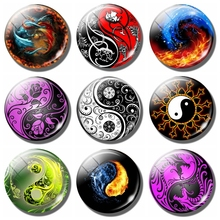 Yin Yang 30 MM Fridge Magnet Yoga Zen Meditation Glass Cabochon Magnetic Refrigerator Stickers Note Holder Home Decor