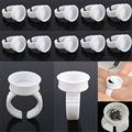 10/100 unids/set Adhesivo Anillo Pallet Pallet Titular Set Holder Glue Desechable de Pestañas para la Extensión De Pestañas Pigmento Del Tatuaje