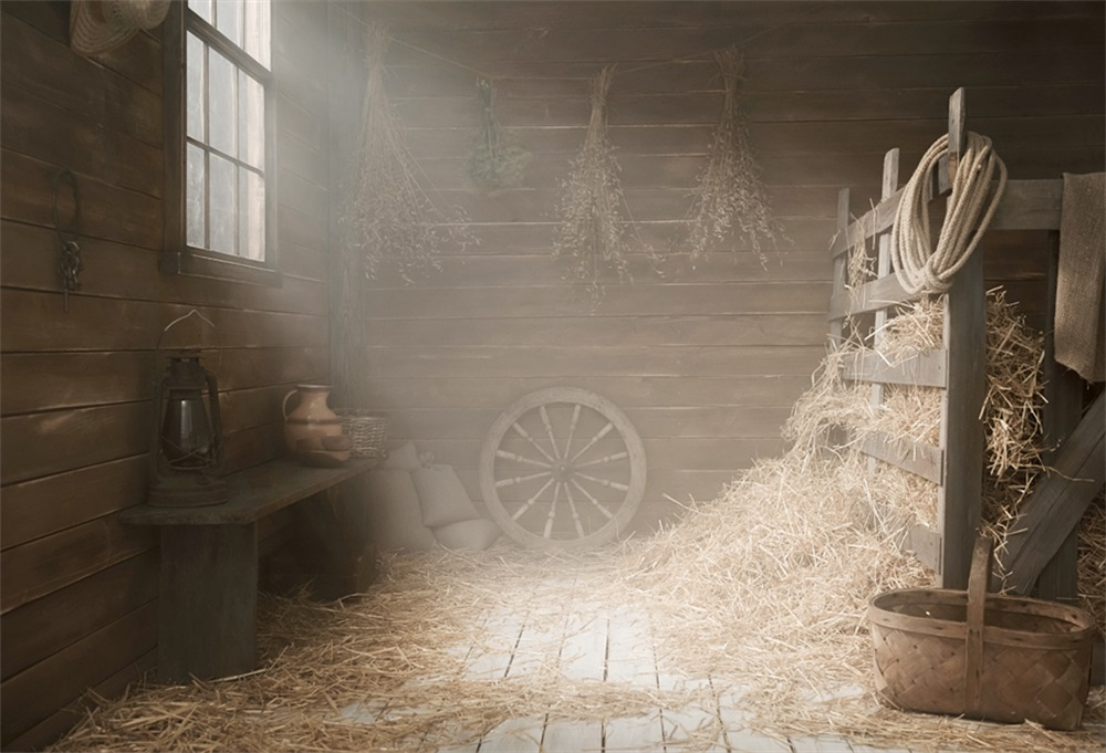 Laeacco Farm Wooden House Hay Bale Day Rope Lamp Photographic Backgrounds Customized Photography Backdrops For Photo Studio