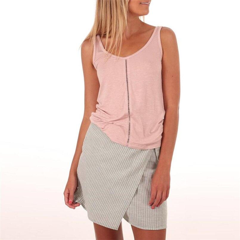 Womail Лидер продаж бретели для Для женщин без рукавов с v-образным вырезом Однотонный жилет Блузка Топ укороченные для Для женщин футболки май...