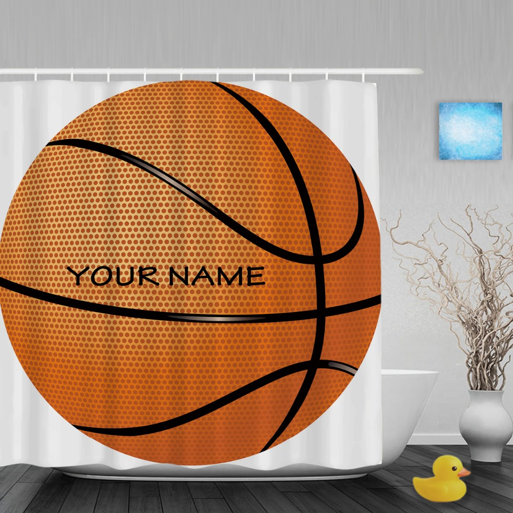 Sports shower curtain - Personalized Basketball Sports Shower Curtain Custom Name Decor Bathroom Shower Curtains Polyester Waterproof Fabric With Hooks