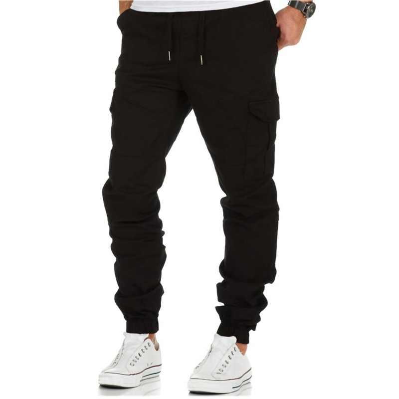 Для мужчин Штаны в стиле хип-хоп шаровары, штаны для бега Штаны 2018 самых лучших брендов мужской мужские брюки для бега сплошной цвет с несколькими карманами, Штаны рабочие брюки
