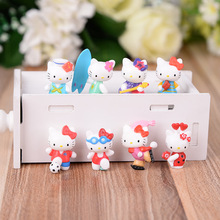 цена на KT Hello Kitty Hellokitty Cartoon Toy Model Cute Home Decoration Doll PVC Sports Suit