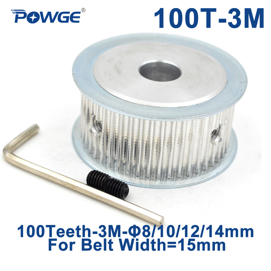 цены POWGE Arc 100 Teeth HTD 3M Synchronous Timing Pulley Bore 8/12/15mm for Width 15mm HTD3M Timing Belts Wheel gear 100T 100Teeth