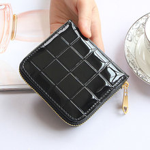 Women Short Wallets shiny PU Leather Female Plaid Purses zipper Card Holder Fashion Woman Small Zipper