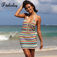 Fitshinling Handmade crochet backless beach dress 2018 knitted rainbow stripe sexy dresses women clothing lace up hot pareos