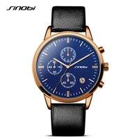 SINOBI Rose Gold Blue Watches Men Fashion Dress Woman's Quartz Watch Unique Design Leather Wristwatch for Male