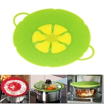 50pcs/lot Multi-function Cooking Tools Flower Cookware Parts Green Silicone Boil Over Spill lid Stopper WA0998