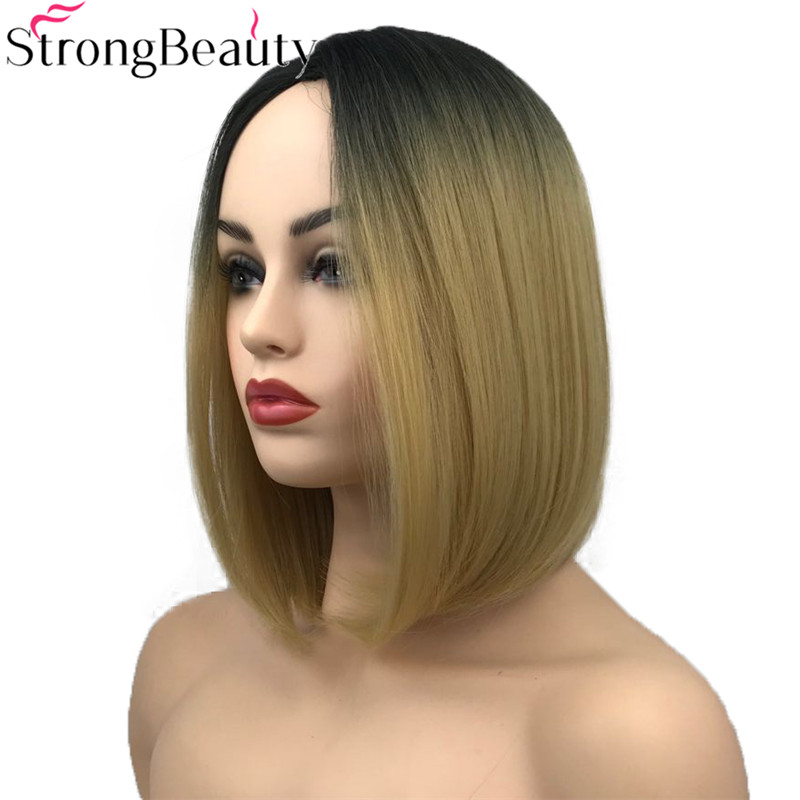 StrongBeauty Short Wigs Straight Synthetic Wig Ombre Flaxen Lace Partings Heat Resistant Hair Full Hair