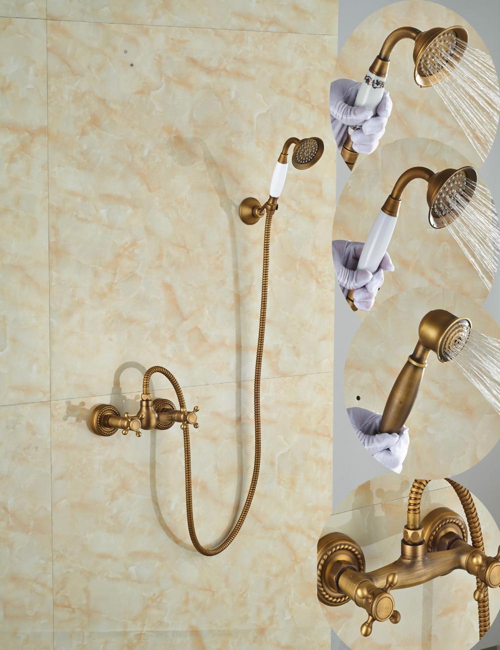 Wholesale And Retail Promotion Antique Brass Bathroom Rain Shower Faucet Dual Cross Handles Hand Held Shower Sprayer dual cross handles antique brass bathroom tub faucet with hand held shower sprayer
