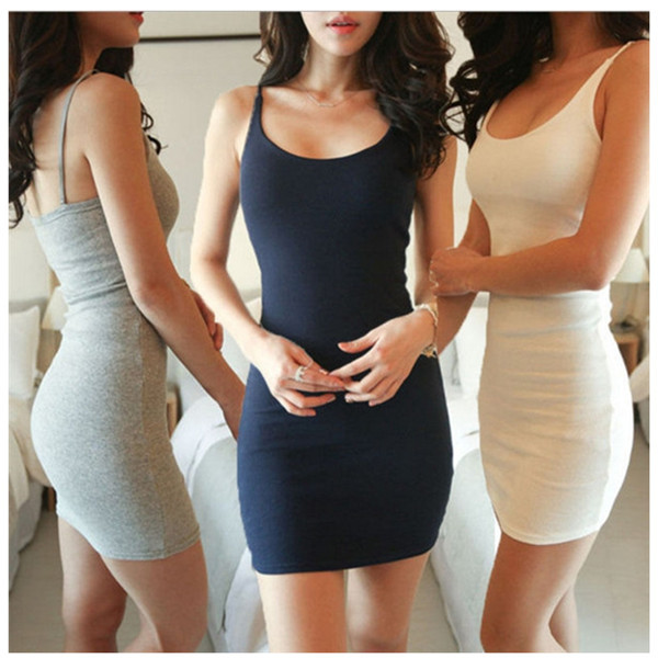 822dbedc61786 US $4.44 14% OFF|Fashion Women Sexy Backless Basic Dresses Sleeveless Slim  Vestidos Vest Tanks Bodycon Dress Strap Solid Party Dress-in Dresses from  ...