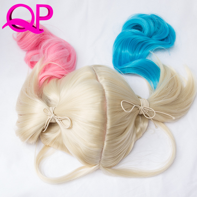 Harley Quinn Wig Harleen Quinzel Cosplay Styled Curly Synthetic Ponytail Wig Heat Resistant Hair Harley Quinn Wigs Suicide Squad